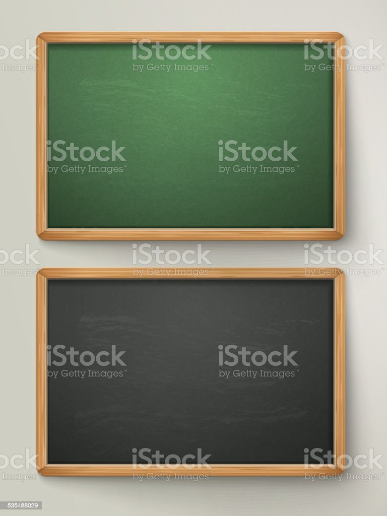 blank black chalkboard set vector art illustration