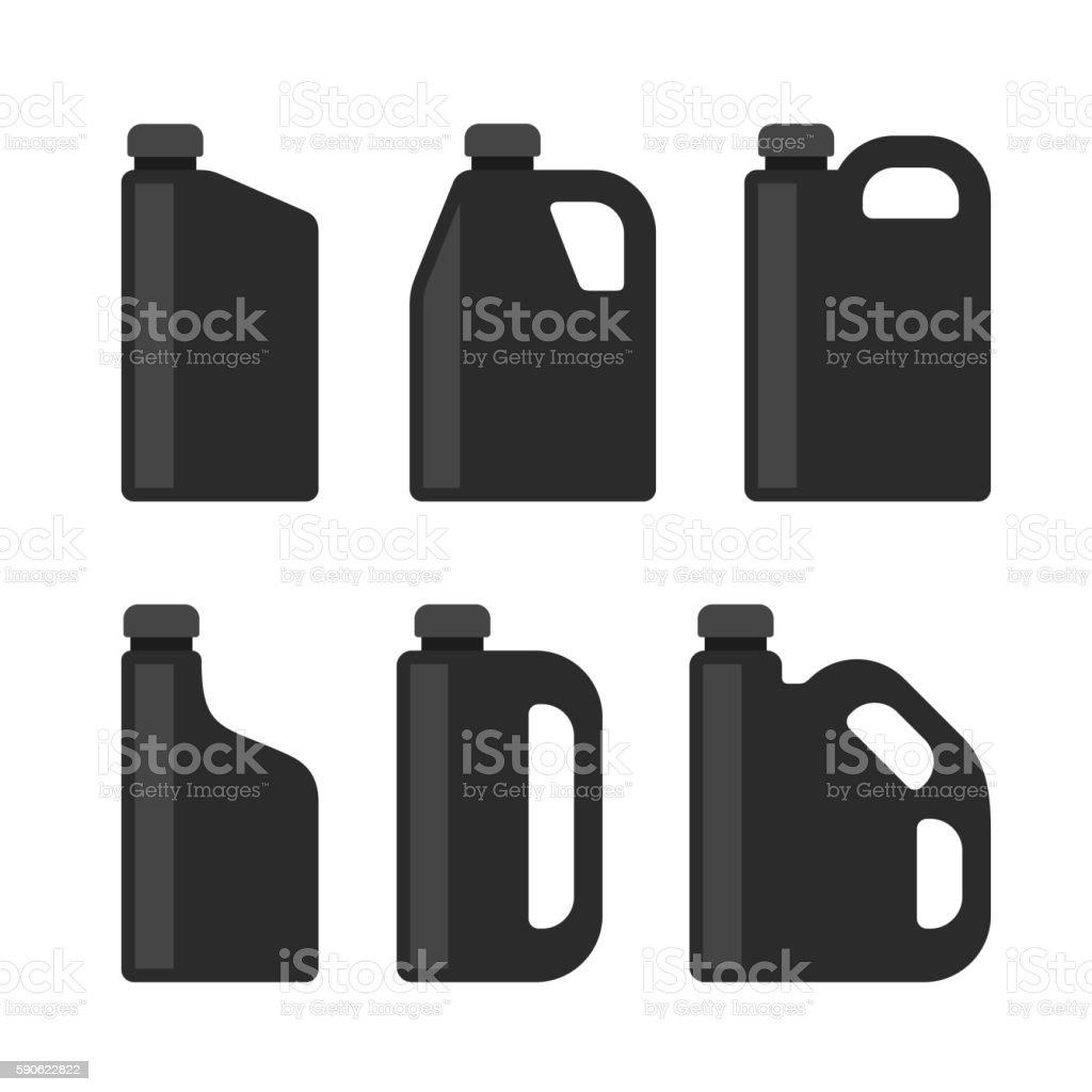 Blank Black Plastic Canisters Icons Set for Motor Machine Oil vector art illustration