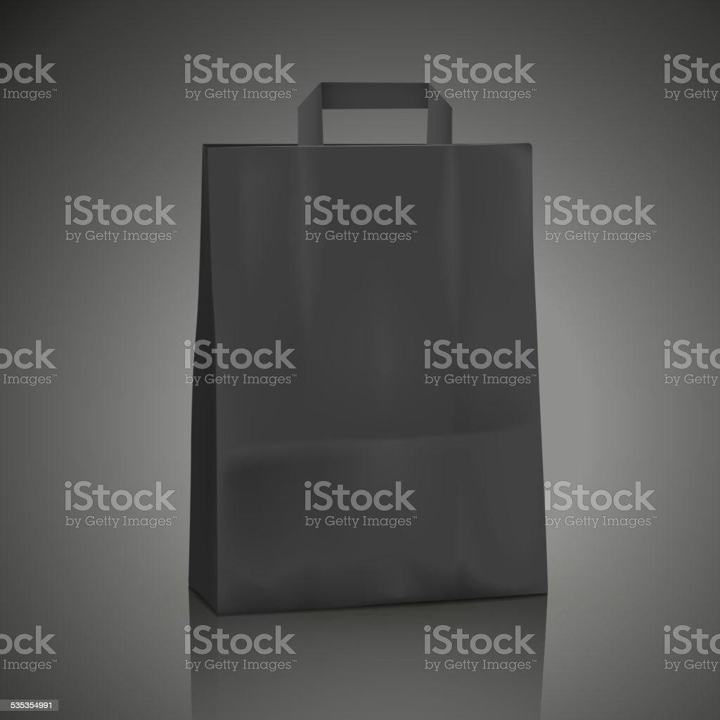 blank black shopping bag vector art illustration