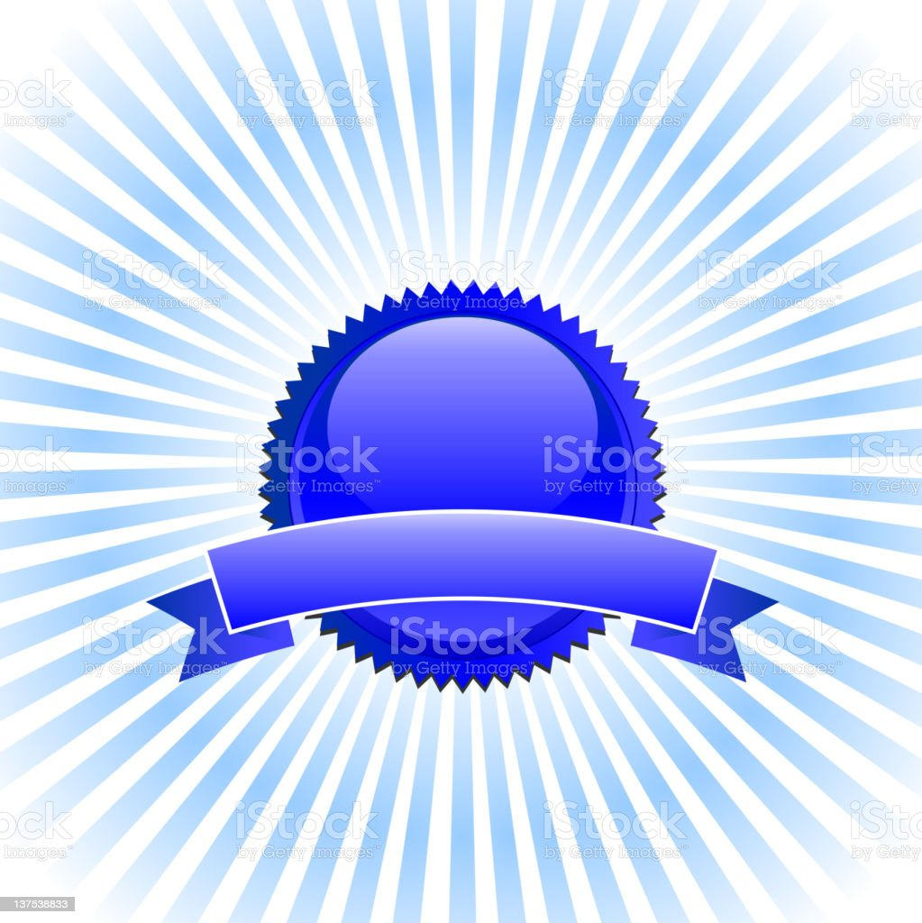 Blank Blue badge royalty free vector Background with glow effect royalty-free stock vector art