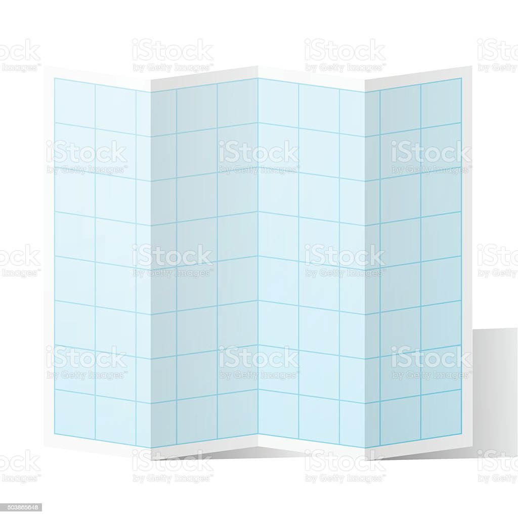 Blank blue graph paper folded, isolated on white Background. vector art illustration
