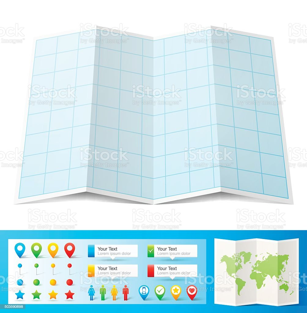 Blank blue graph paper with location pins isolated, white Background vector art illustration