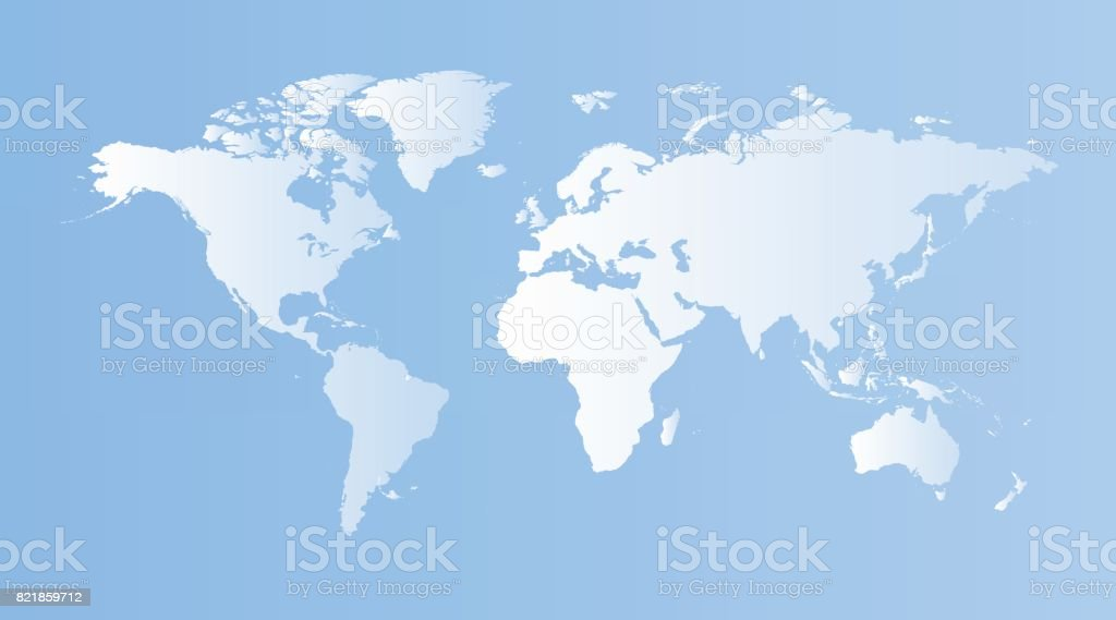 Blank blue world map on isolated blue background. World map vect vector art illustration