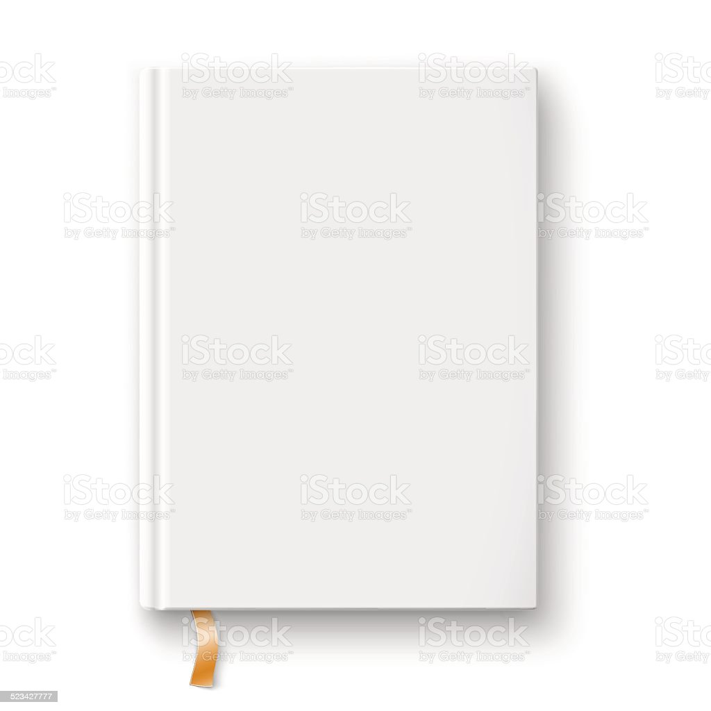 Blank book template with gold bookmark. vector art illustration