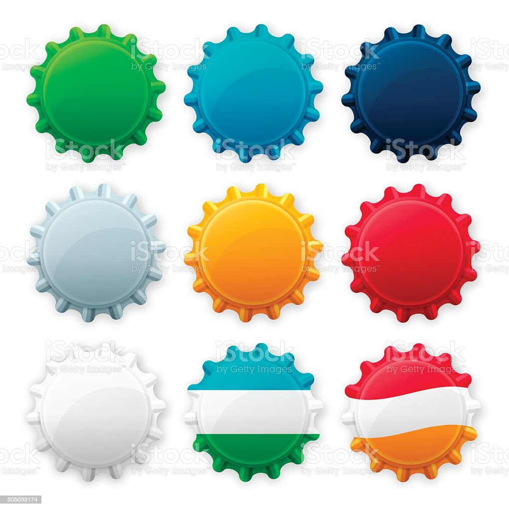 Blank Bottle Cap Tops vector art illustration