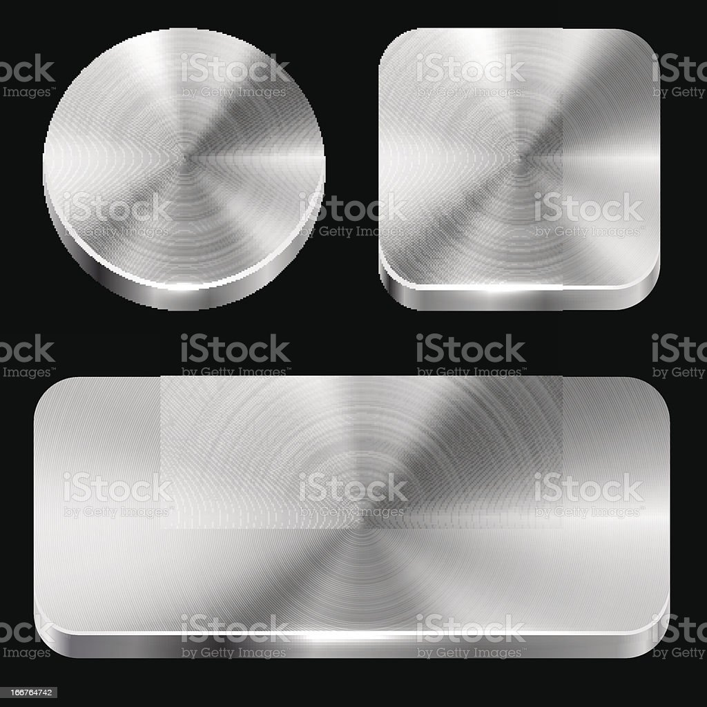 Blank brushed metal buttons royalty-free stock vector art