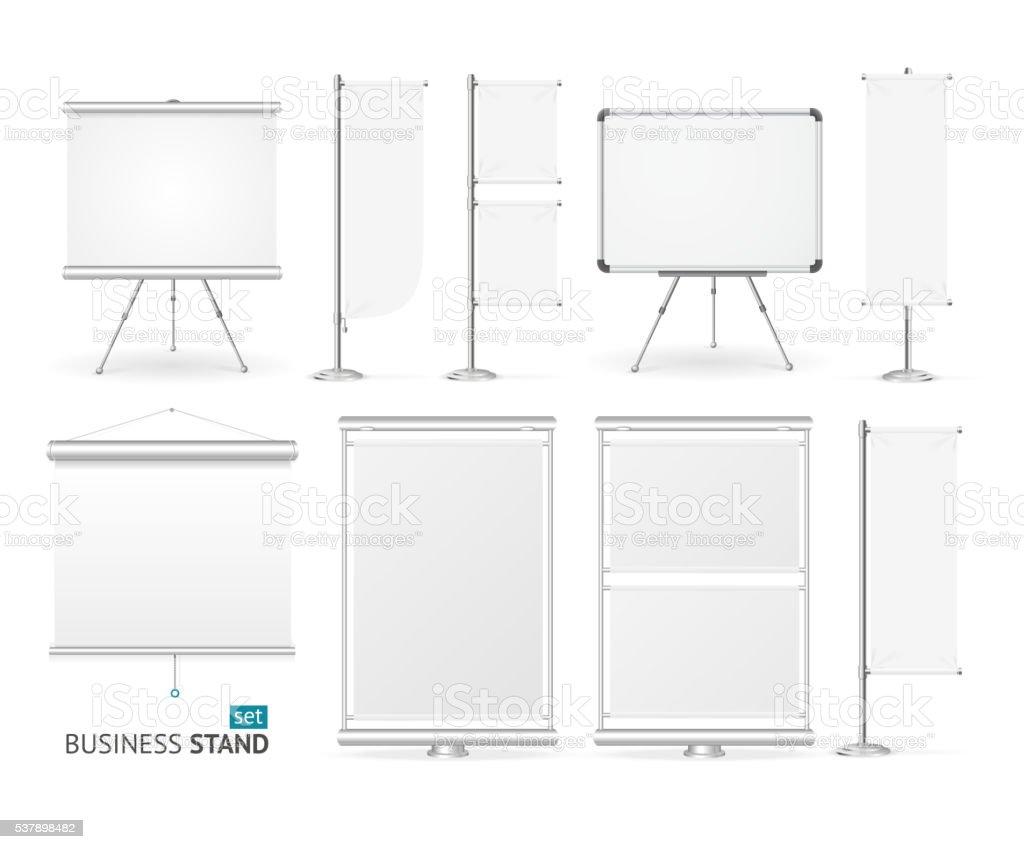 Blank Business Stand Set. Vector vector art illustration