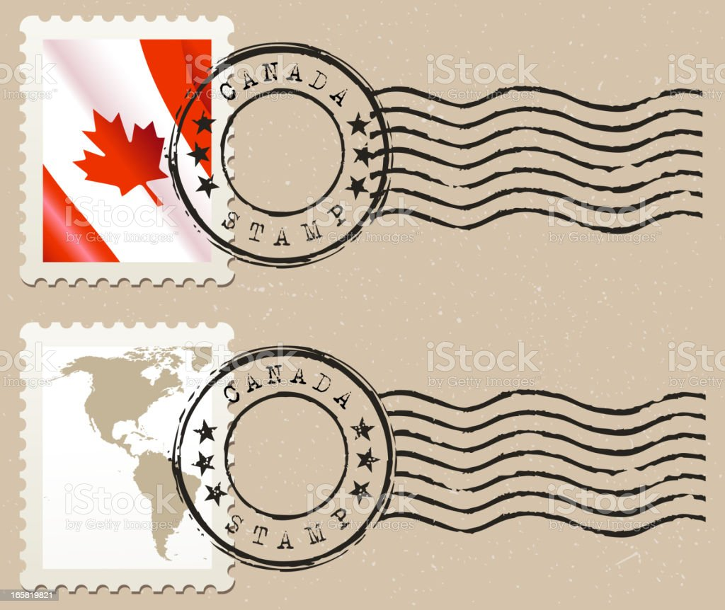 Blank Canadian postage stamped postcard royalty-free stock vector art