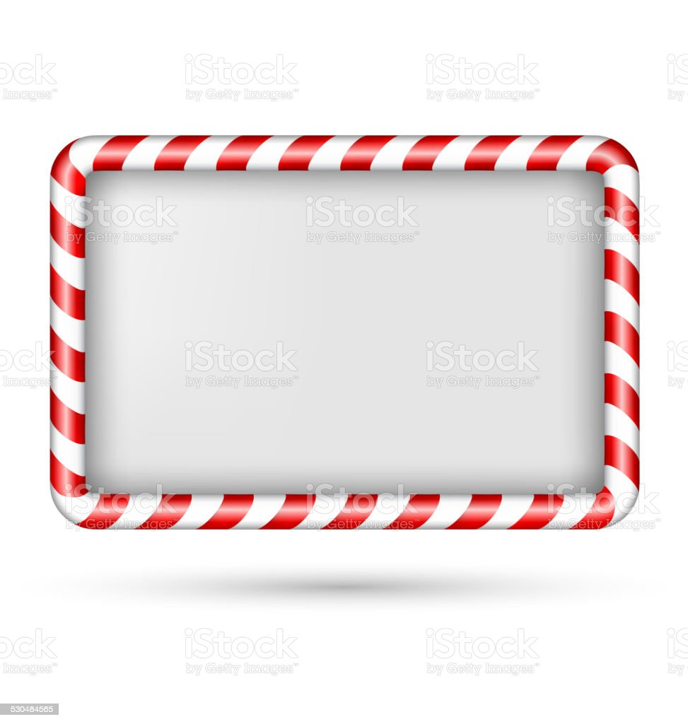 Blank candy cane frame isolated on white vector art illustration