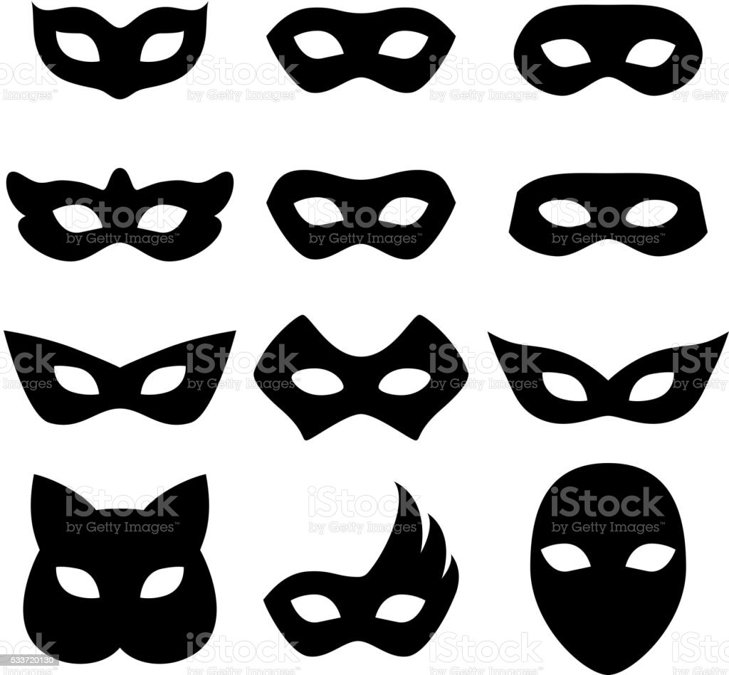 Blank carnival masks icons templates set illustration vector art illustration