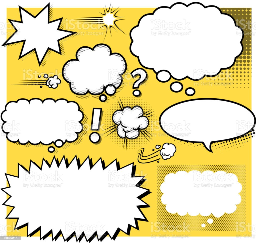 blank cartoon speech bubbles vector art illustration