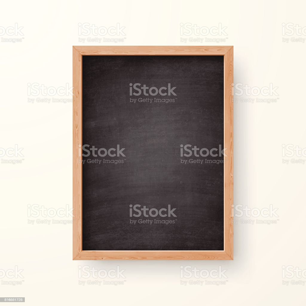 Blank Chalkboard with Wooden Frame on white Background vector art illustration
