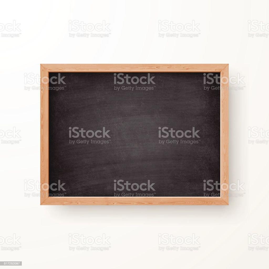 Blank Chalkboard with Wooden Frame on white Background vector art illustration