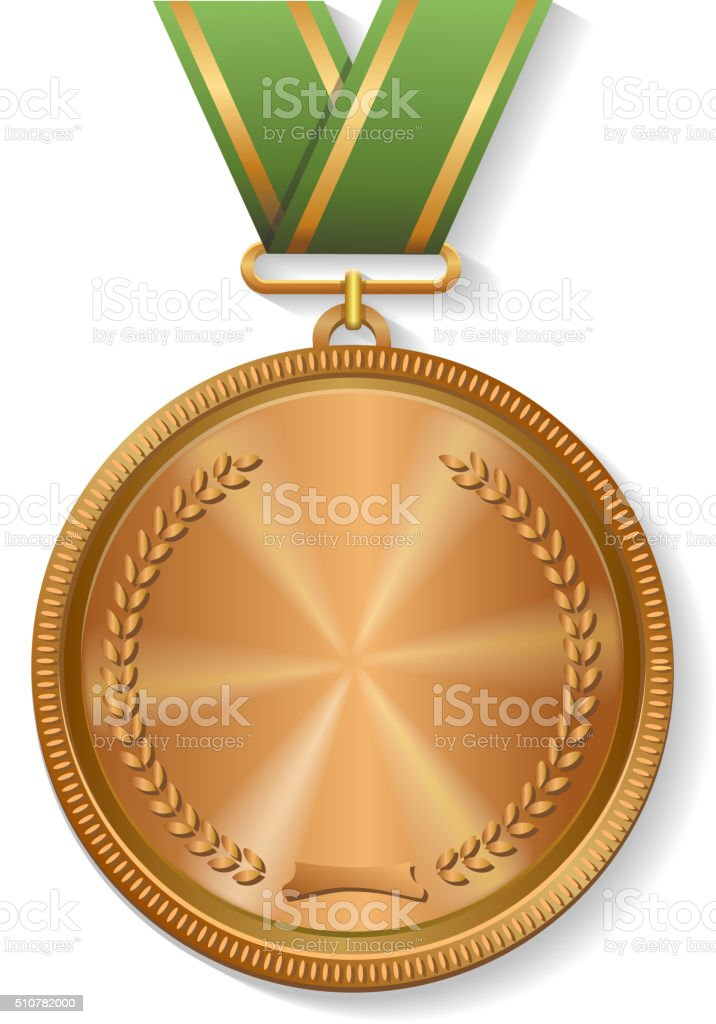 Blank champion  bronze medal with ribbon vector art illustration