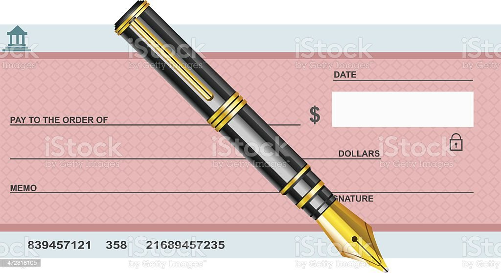 Blank Cheque with pen vector art illustration