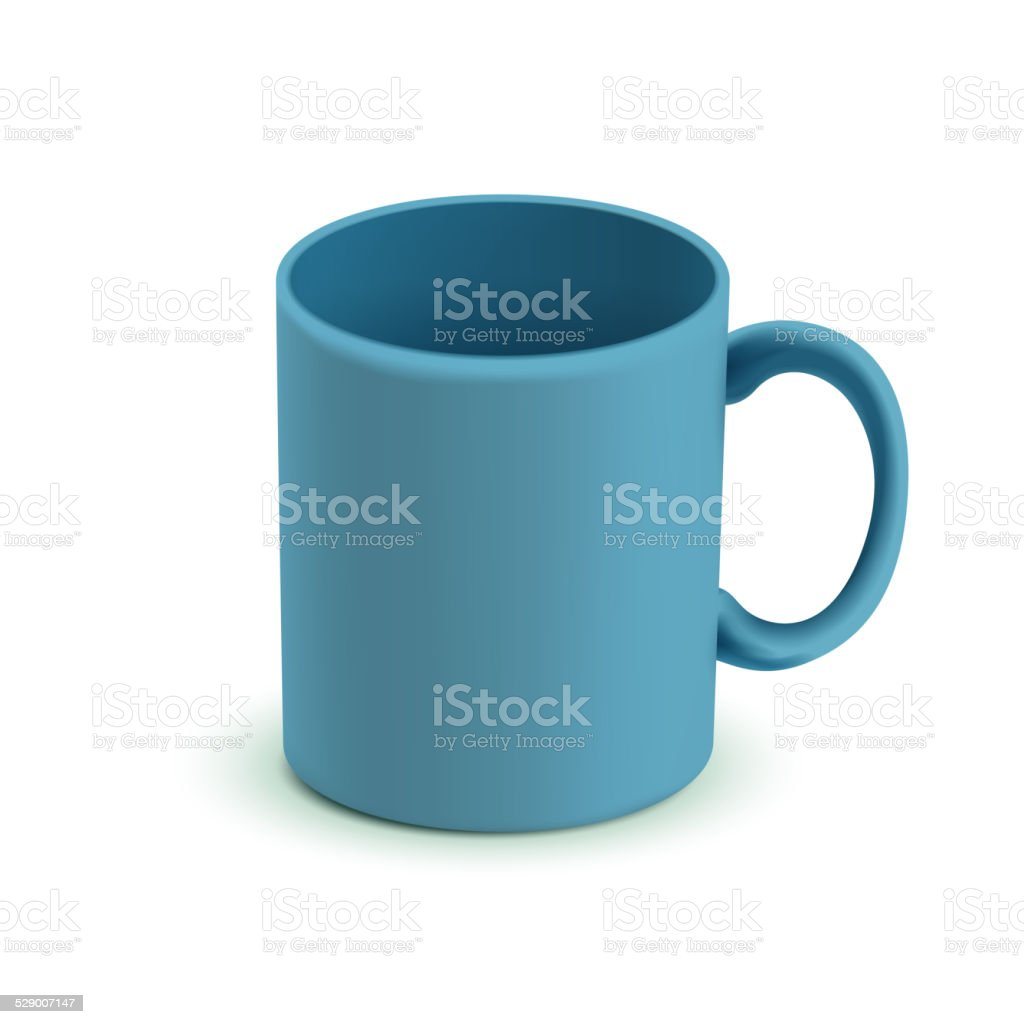 blank classic blue mug vector art illustration