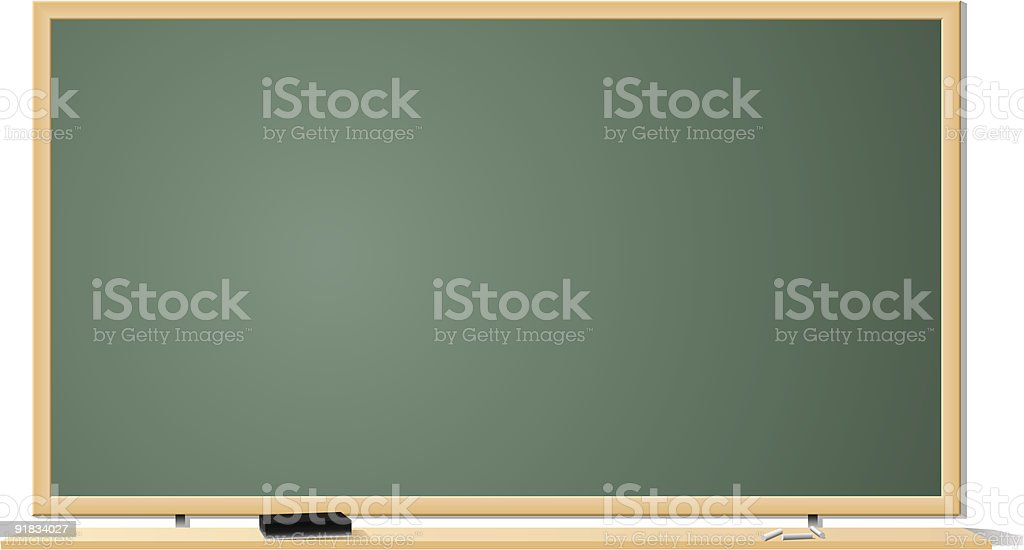 Blank classroom chalkboard on a white wall vector art illustration