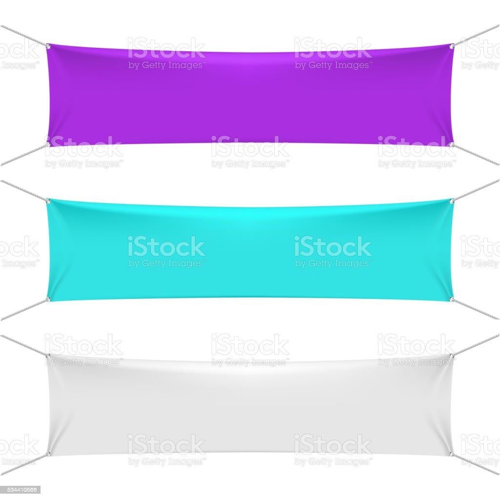 Blank color textile horizontal banners with copy space vector art illustration