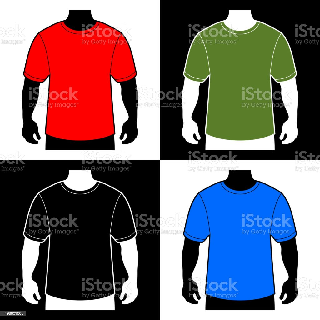 Blank Color T-shirt Men Body Silhouette. Vector royalty-free stock vector art