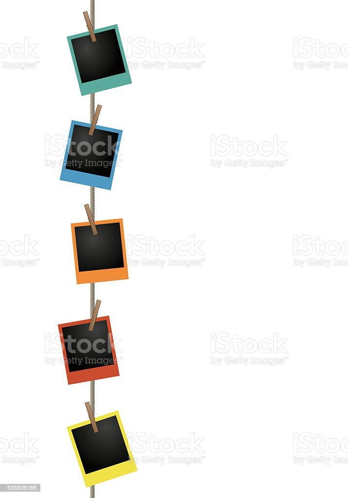 Blank colorful photo frames on a clothesline vector art illustration