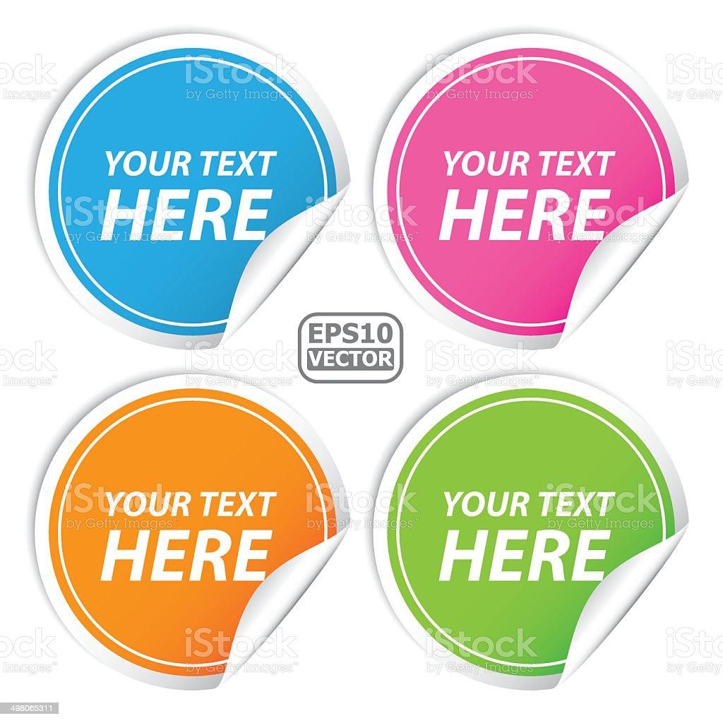 Blank colorful round shape sticker set for business.-eps10 vector vector art illustration