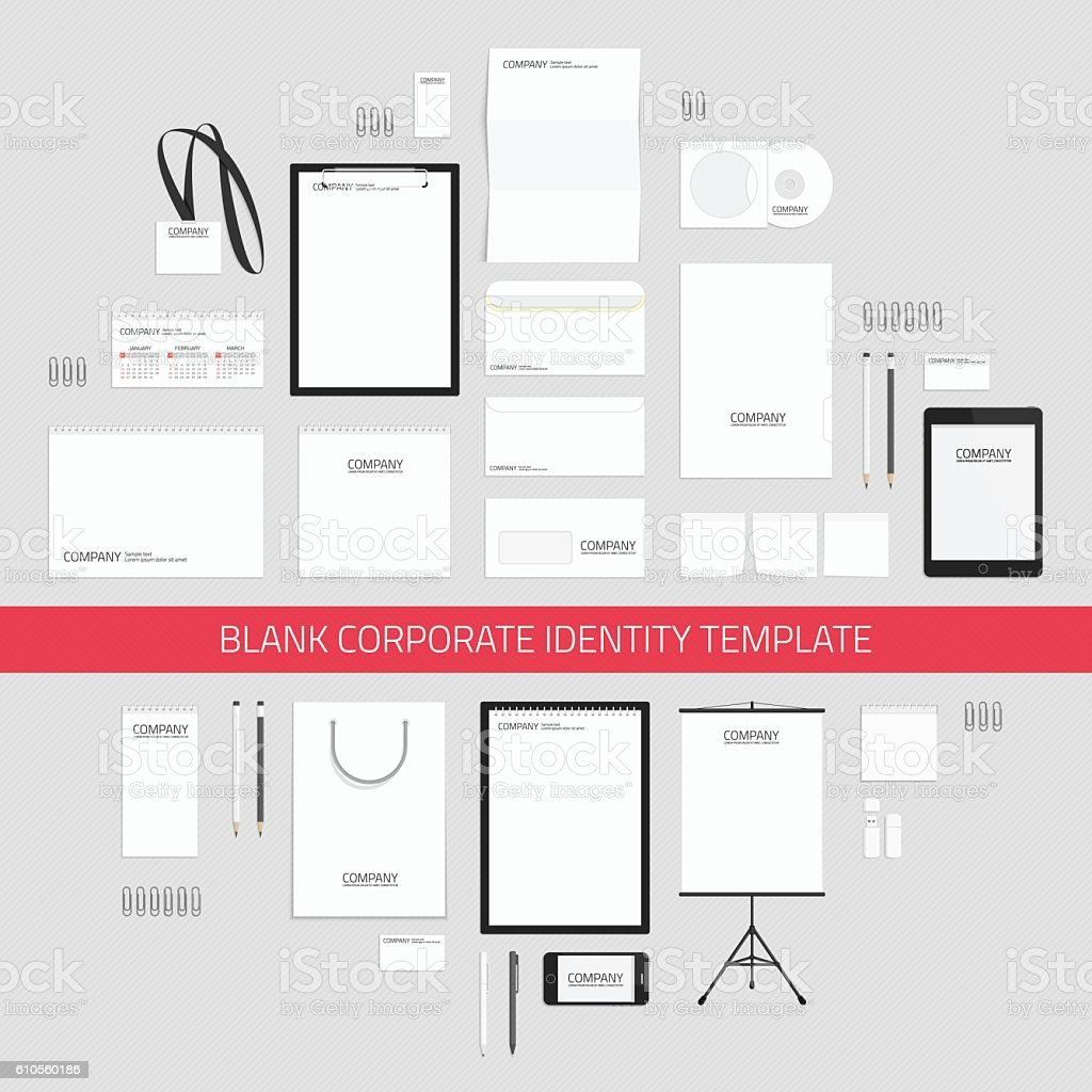 Blank corporate identity template. vector art illustration