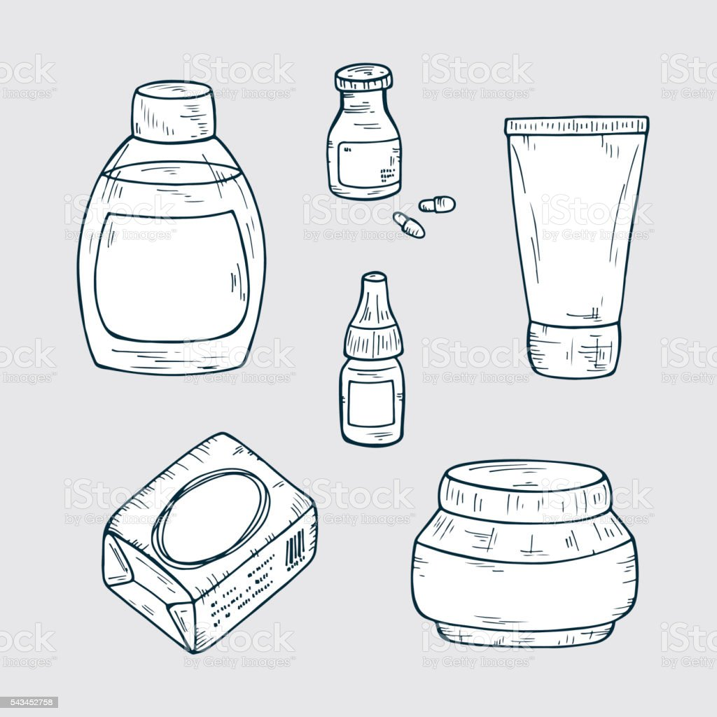 Blank cosmetic package collection. Hand drawn Cosmetic bottles and packaging. vector art illustration
