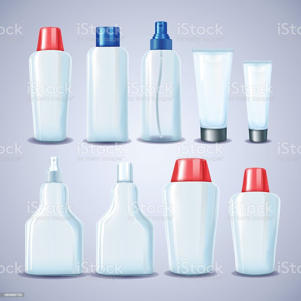 Blank cosmetic tubes. White, red and blue colors. Vector illustr vector art illustration