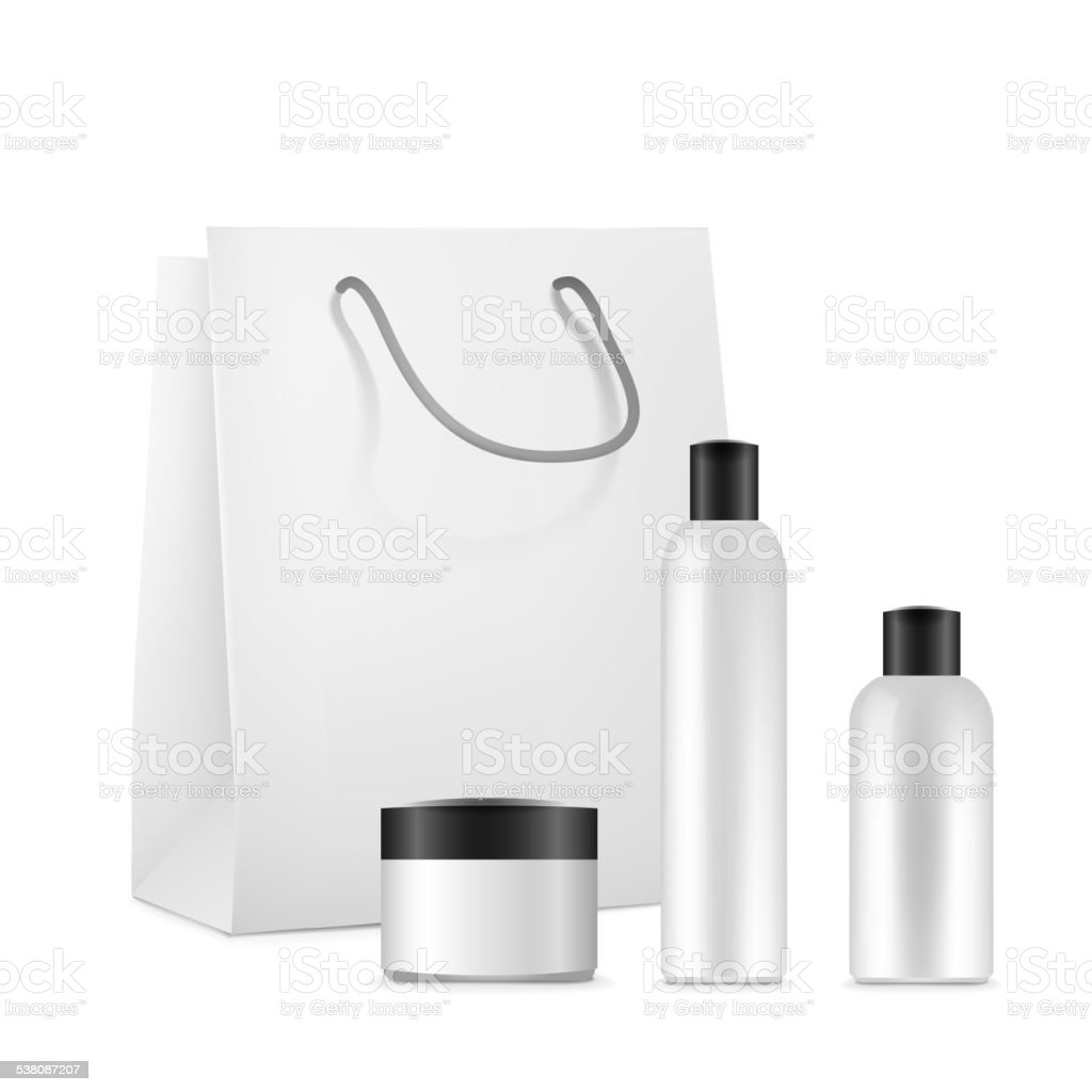 blank cosmetics package set vector art illustration