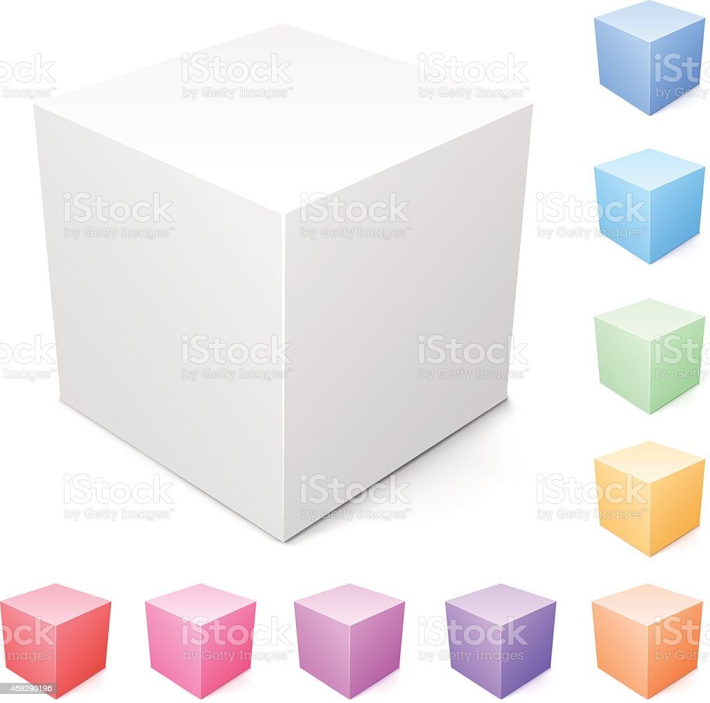 Blank cube and a set of colorful ones vector art illustration