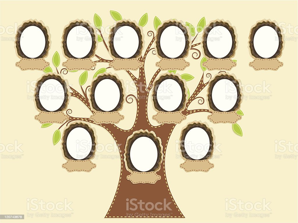 A blank diagram of a family tree royalty-free stock vector art