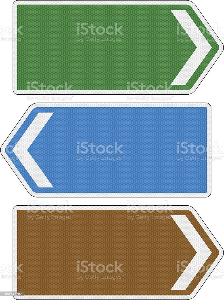 Blank directional road signs with reflection detail vector art illustration