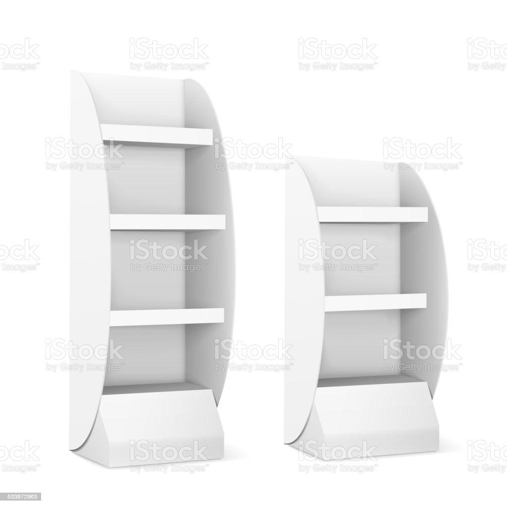blank displays with shelves vector art illustration