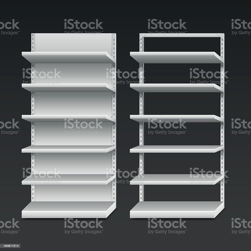 Blank Empty Shelves vector art illustration