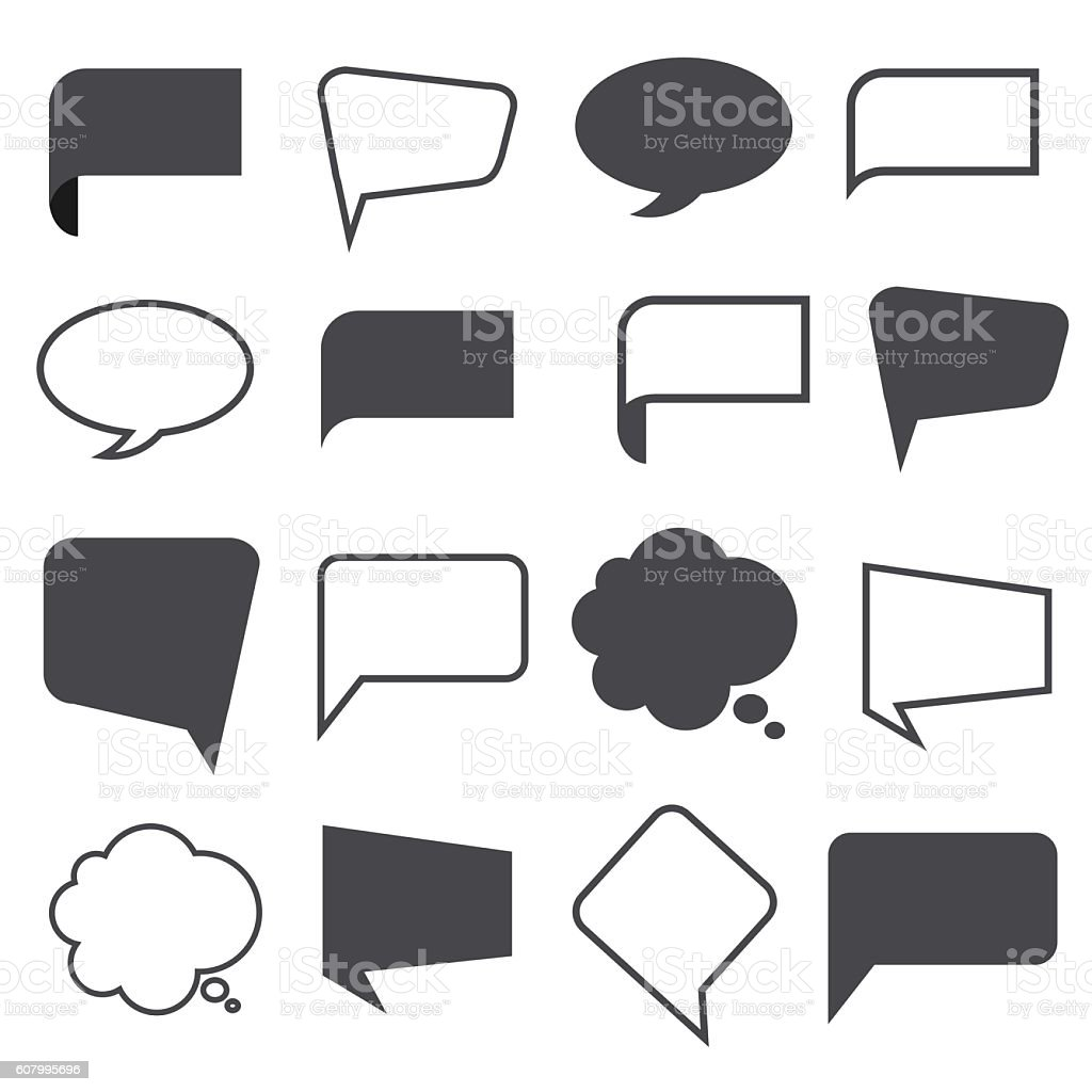 Blank empty speech bubbles vector art illustration