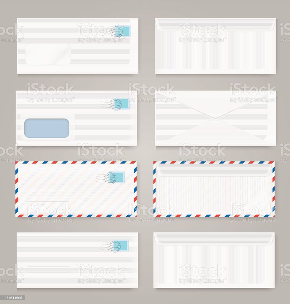 Blank envelopes set vector art illustration