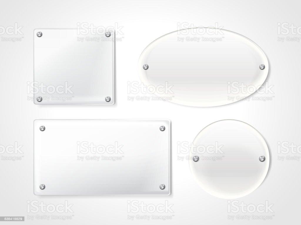 blank exhibition glass plates vector art illustration