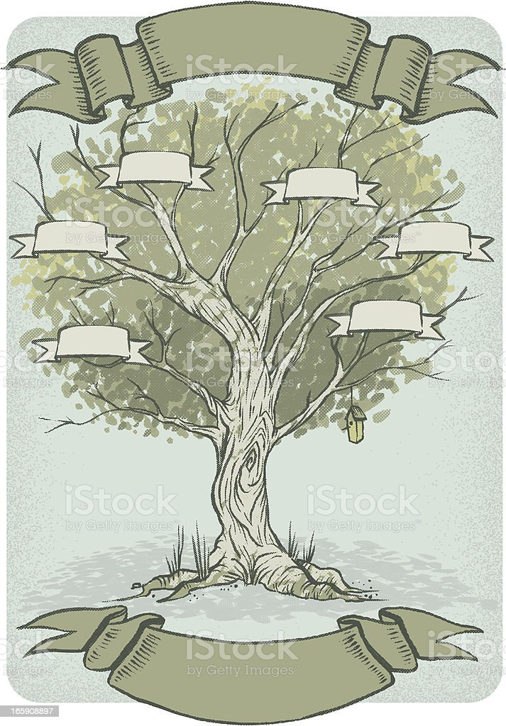 Blank family tree ready to be filled in royalty-free stock vector art