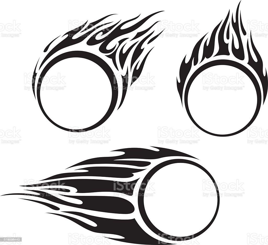 Blank Flaming Ring vector art illustration