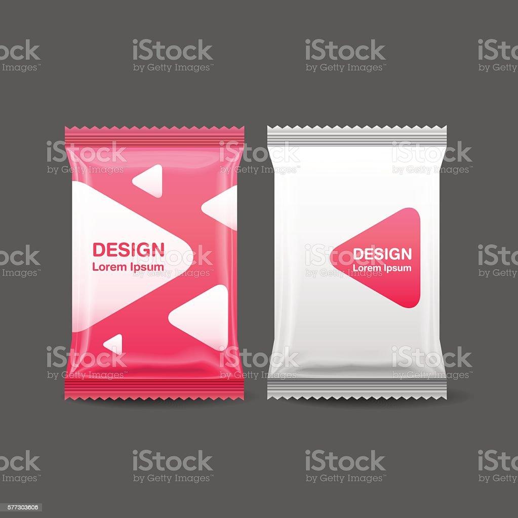 Blank Foil Food Snack pack vector art illustration