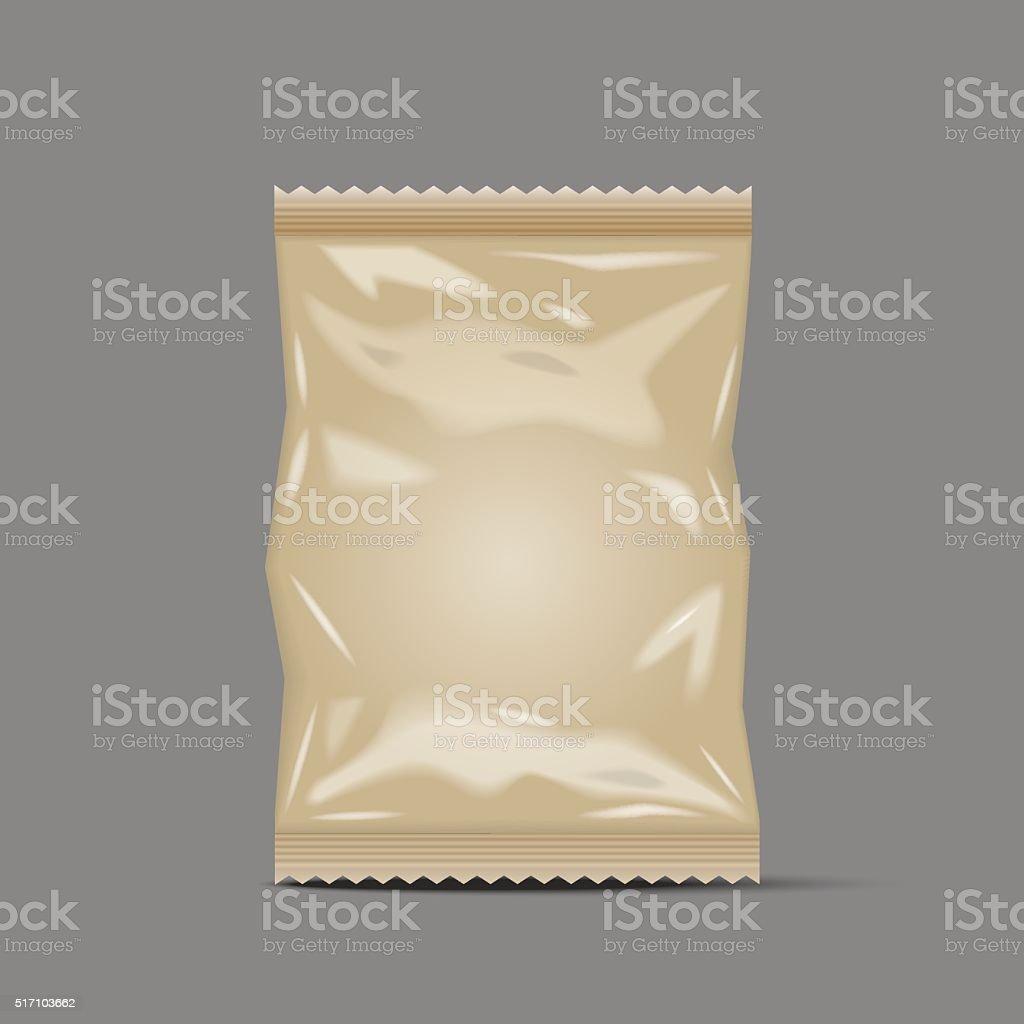 Blank Foil Food Snack Sachet Bag Packaging, paper vector art illustration