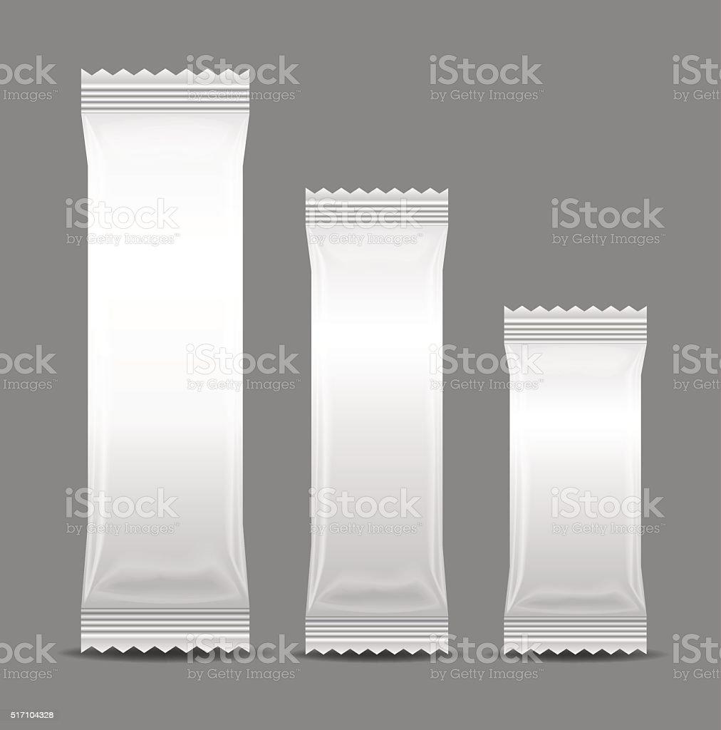 Blank Foil Food Snack Sachet Bag Packaging vector art illustration