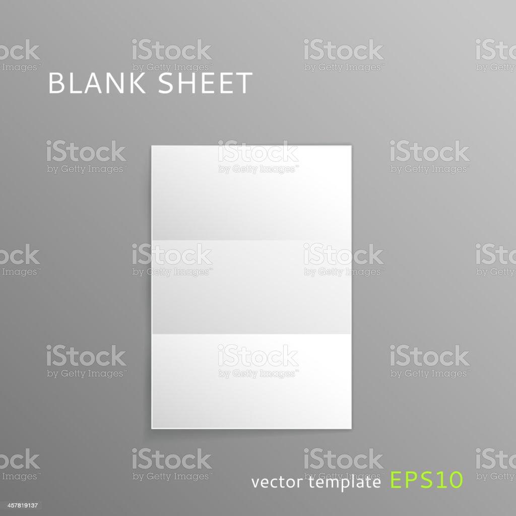 Blank folded paper sheet vector art illustration