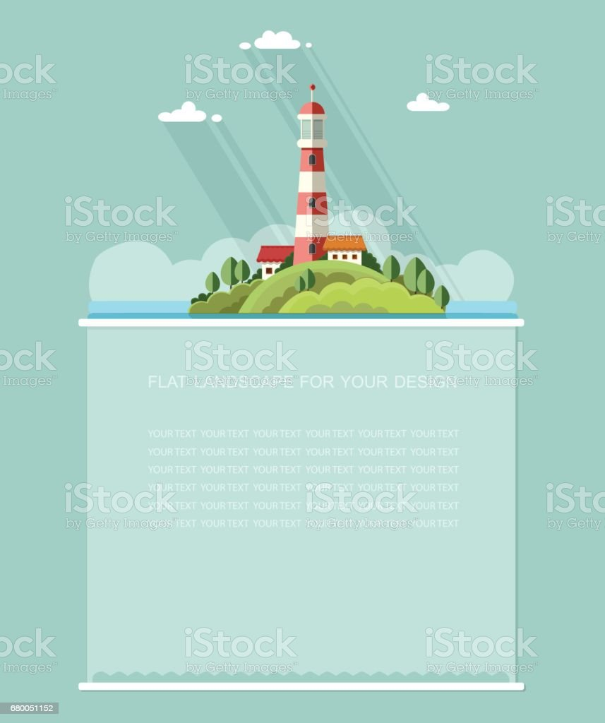 Blank for text. Seascape. Lighthouse on the island on a background of clouds. Flat vector Infographics design vector art illustration