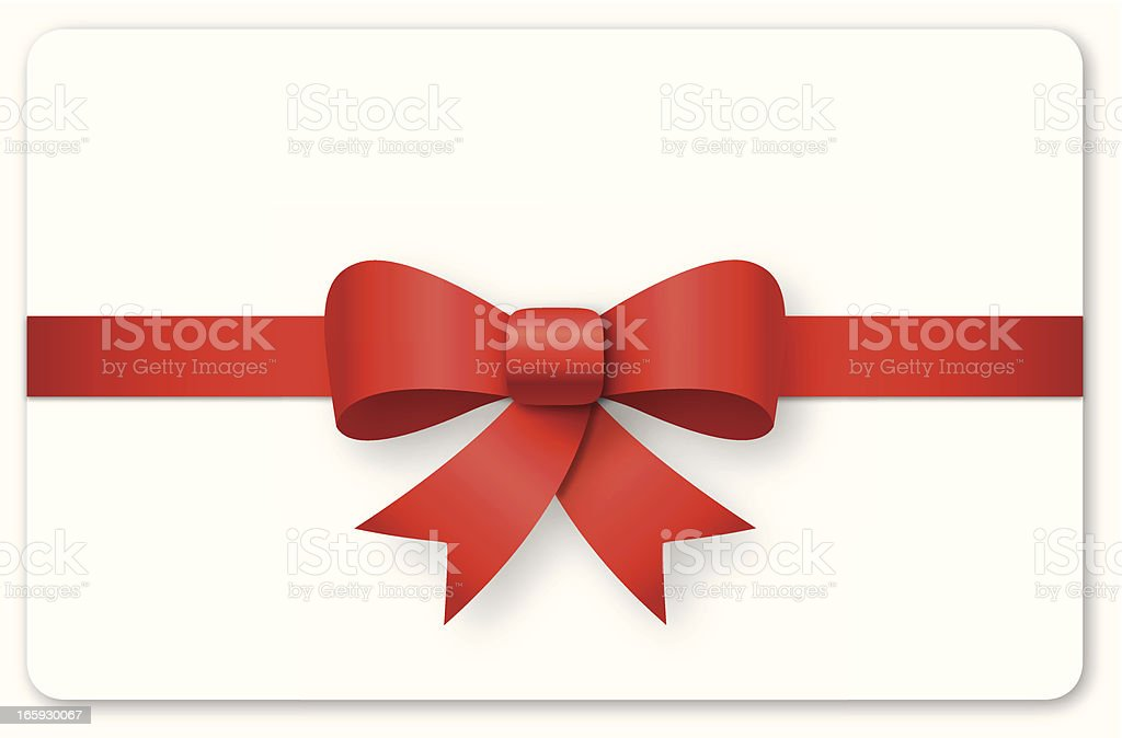 A blank gift card with a red ribbon royalty-free stock vector art