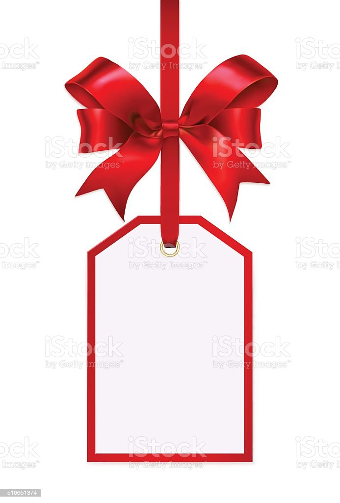 Blank gift tag with a red ribbon bow vector art illustration