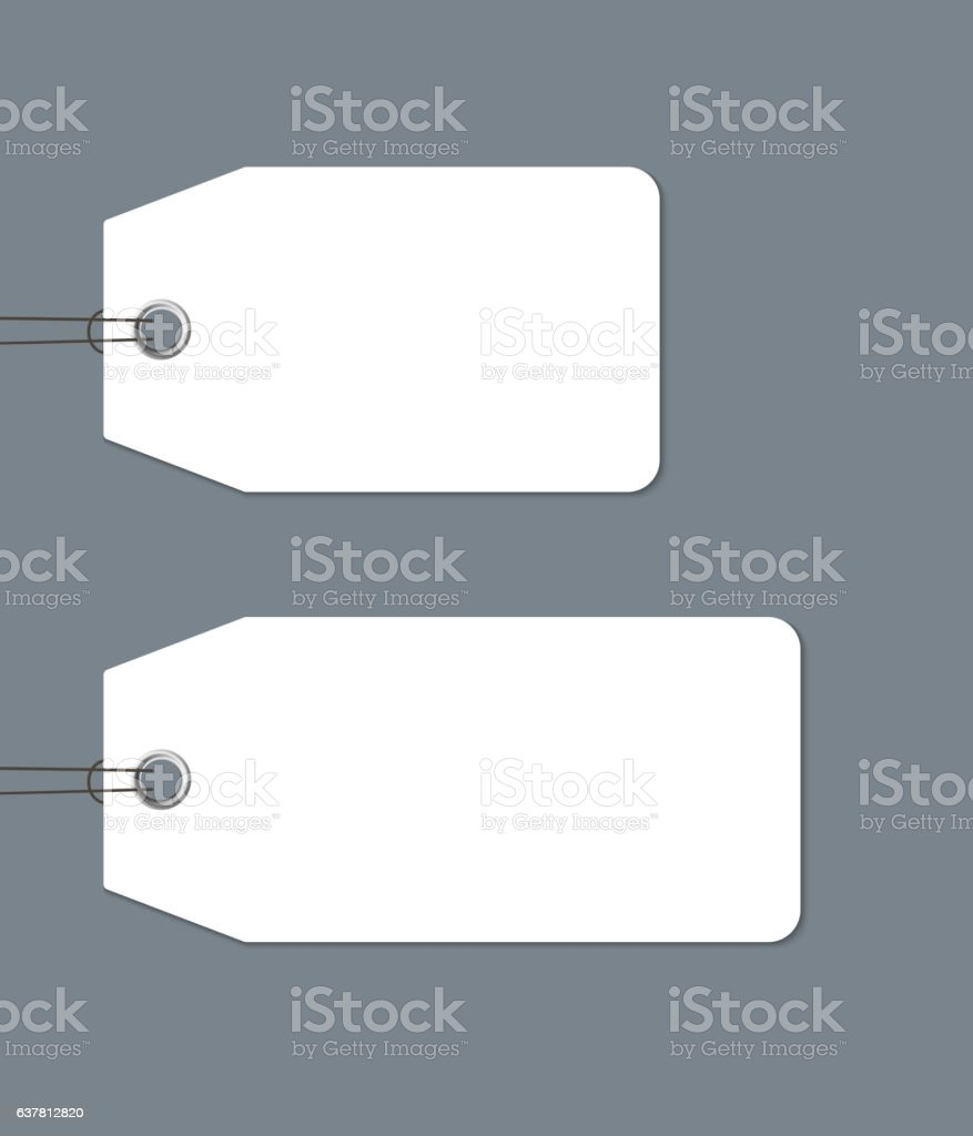 Blank gift tags tied with a string on dark background vector art illustration