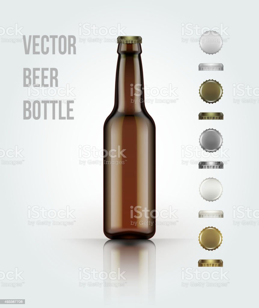 Blank glass beer bottle for new design. Vector illustration vector art illustration