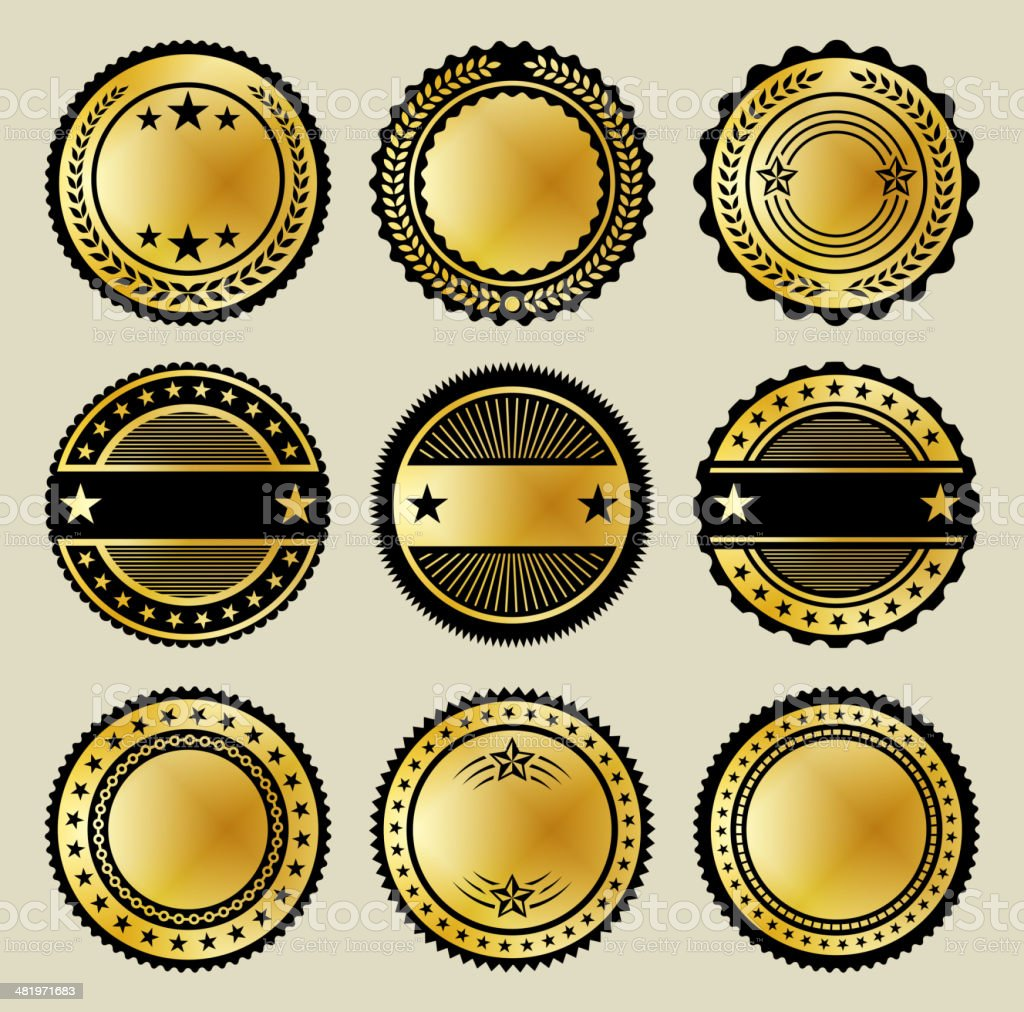 Blank Gold & Black Buttons Full Color Set royalty-free stock vector art