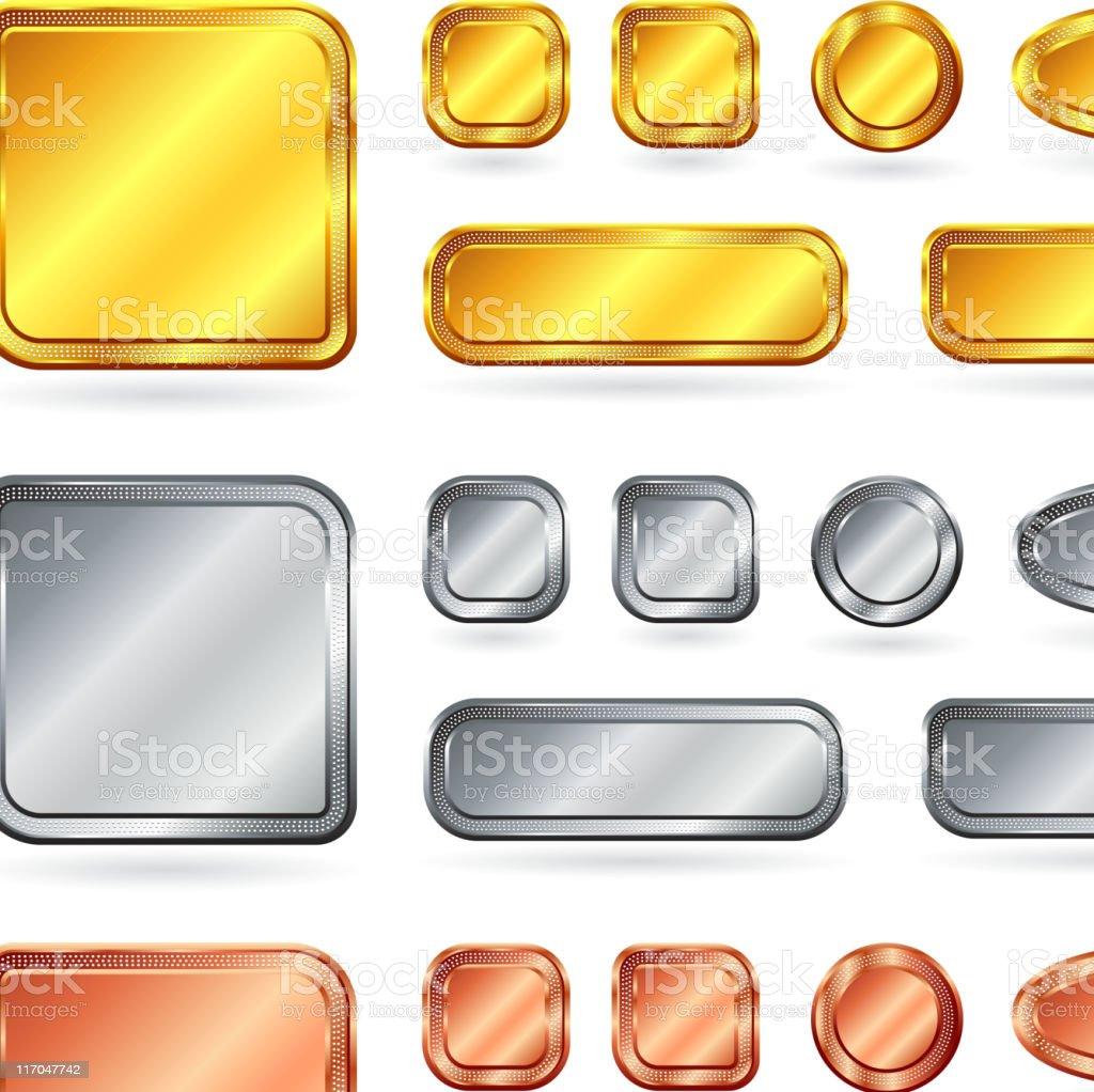blank gold silver bronze internet buttons vector art illustration